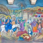 BETHLEHEM, ISRAEL - MARCH 6, 2015: The modern fresco of Palm Sunday from 20.cent. in Syrian orthodox church by artist K. Veniadis (1987). — Stock Photo #77415182