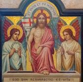 JERUSALEM, ISRAEL - MARCH 5, 2015: The mosaic of resurrection of Jesus in st. George anglicans church from end of 19. cent. — Stock Photo