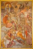 ROME, ITALY - MARCH 25, 2015: The Deposition of the cross fresco by Daniele da Volterra (after 1546) in church Chiesa della Trinita dei Monti. — Stock Photo