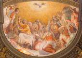 ROME, ITALY - MARCH 27, 2015: The Pentecost fresco in church Santa Maria dell Anima by Francesco Salviati from 16. cent. — Стоковое фото