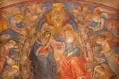 ROME, ITALY - MARCH 27, 2015:The Coronation of Virgin Mary fresco in church San Pietro in Montorio Baldassarre Peruzzi from 16. cent. — Stock Photo