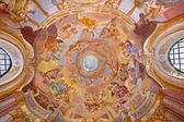 BANSKA STIAVNICA, SLOVAKIA - FEBRUARY 20, 2015: The fresco on cupola in the middle church of baroque calvary by Anton Schmidt from years 1745. Angels with the music instruments. — Stock Photo