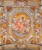ROME, ITALY - MARCH 26, 2015: The ceiling freso by G. B. Ricci from 16. cent. in church Chiesa di Santa Maria in Transpontina and chapel of st. Peter and Paul with the Ascension as central motive. — Foto de Stock