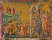 ROME, ITALY - MARCH 27, 2015: Old mosaic of Adoration of the Magi in church Basilica di Santa Maria in Trastevere from 13. cent. by Pietro Cavallini. — Stock Photo
