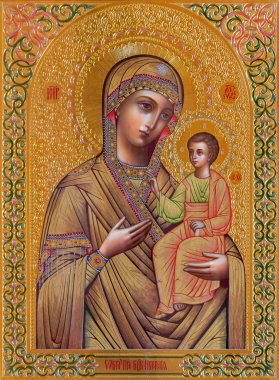 JERUSALEM, ISRAEL - MARCH 5, 2015: The icon of Madonna in Russian orthodox Church of Holy Mary of Magdalene by unknown artist on the Mount of Olives.