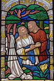 JERUSALEM, ISRAEL - MARCH 5, 2015: The baptism of Christ scene on the windowpane in st. George anglicans church from end of 19. cent. — Stock Photo