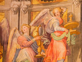 ROME, ITALY - MARCH 27, 2015: The engels fresco in sancturary in church Basilica di Santa Maria in Trastevere from 17. cent. by Domenichino (1581 - 1641). — Stock Photo