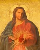 Roma, Italia - 25 marzo 2015: La vernice del cuore di Gesù sull'altare laterale nella Chiesa Basilica dei Santi Xii Apostoli di ignoto artista di 19. cento. — Foto Stock