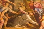 Rom, Italien - 25 mars 2015: Specificera färg Kristus faller under korset i kyrkan Chiesa del Jesu av Gaspare Celio (1571-1640). — Stockfoto