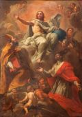 ROME, ITALY - MARCH 25, 2015: The painting of Christ with the sts. Ambrose and Charles by Pier Francesco Mazzuchelli (1571 - 1626)  in baroque church Basilica dei Santi Ambrogio e Carlo al Corso. — Stock Photo