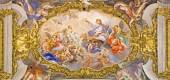 """ROME, ITALY - MARCH 25, 2015:  The detail of fresco on ceiling of church Chiesa del Jesu """"The Triumph of Name of Jesus"""" by  by Giovani Battista Gaulli (nickname Baciccio 1639 - 1709). — Stock Photo"""