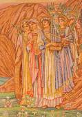 ROME, ITALY - MARCH 24, 2015: The mosaic of saints women by Edward Burne-Jones (1833 - 1898) in main apse of anglicans church Chiesa di San Paolo dentro le Mura. — Stock Photo