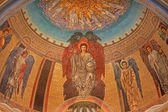 ROME, ITALY - MARCH 24, 2015: The mosaic of joung Jesus Christ the Pentokrator and archangels by Edward Burne-Jones (1833 - 1898) in main apse of anglicans church Chiesa di San Paolo dentro le Mura. — Stock Photo