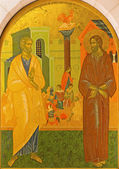 JERUSALEM, ISRAEL - MARCH 3, 2015: The Peter Disowns Jesus. Icon in Church of St. Peter in Gallicantu. — Стоковое фото