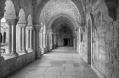 BETHLEHEM, ISRAEL - MARCH 6, 2015: The gothic corridor of atrium at St. Catharine church. — Stock Photo