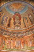 ROME, ITALY - MARCH 24, 2015: The mosaic of young Jesus Christ the Pentokrator and saints by Edward Burne-Jones (1833 - 1898) in main apse of anglicans church Chiesa di San Paolo dentro le Mura. — Stock Photo