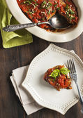 Roasted eggplant with tomato sauce. Vegetarian lasagne with eggplant — Foto Stock