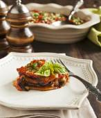 Roasted eggplant with tomato sauce. Vegetarian lasagne with eggplant — Stock Photo