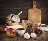 Baking ingredient on wooden background. — Stock Photo