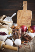 Baking ingredient on wooden background. — Foto Stock