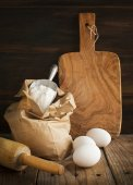 Baking ingredient on wooden background. — Stock Photo