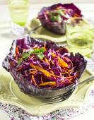 Coleslaw. Salad with red cabbage, carrot, red onion and beetroot — Stock Photo