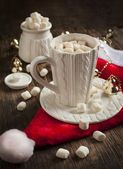 Mug filled with hot chocolate and marshmallows — Stok fotoğraf