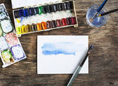 Painting with watercolor. Selective focus — Stock Photo