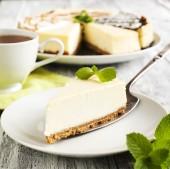 Piece of Classic New York Cheesecake — Stock Photo