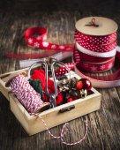 Christmas wrapping accessories — Stok fotoğraf