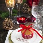 Christmas table setting. Holiday Decorations. — Stock Photo #58542321