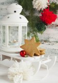 Christmas card with candle lantern, cookies and sledge — ストック写真