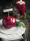 Christmas table setting. Holiday Decorations. — Stock Photo