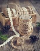 Decorative ribbon. Selective focus. Toned image — Stock Photo