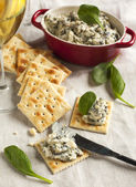 Spinach dip and crackers — Stock Photo