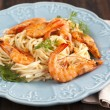 A bowl of delicious prawns spaghetti with creamy sauce — Stock Photo #62126479
