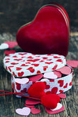 Valentines Day gift and small hearts — Foto de Stock
