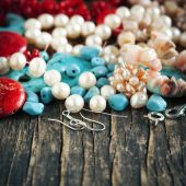 Different colorful beads. Bead making accessories — Stock Photo