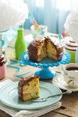 Birthday Chocolate Vanilla Sprinkles Cake — Stock Photo