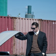 Retro 60s mafia business man with suit and black sunglasses look — Stock Photo