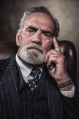 In chair sitting characteristic senior business man. Gray hair a — Stok fotoğraf