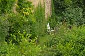 White Lawn Chair in the Garden — Stock Photo
