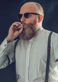Bald Goatee Man Smoking — Stock Photo