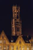 Bruges Belfry Tower at Night — Stock Photo
