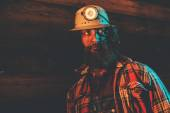 Miner Wearing Helmet Lamp — Stock Photo