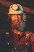 Miner Wearing Helmet Lamp — Foto de Stock