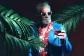 Senior Businessman Holding Cocktail — Stock Photo