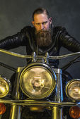 Gorgeous Bearded Man Riding on his Motorcycle — Stock Photo