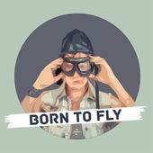Vector stylized satirical portrait, Fighter pilot with hat and glasses — Cтоковый вектор