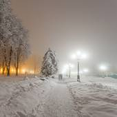 Winter city park at night. Kiev, Ukraine — Stock Photo